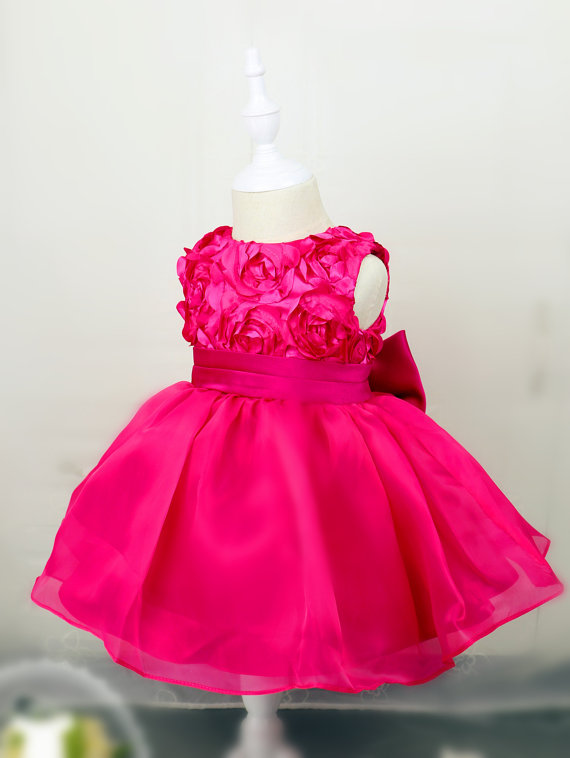 Knee-length Hot Pink Baby Pageant Dress with bow Birthday Dress 1 Year Old  little girls ball gown the little old lady in saint tropez