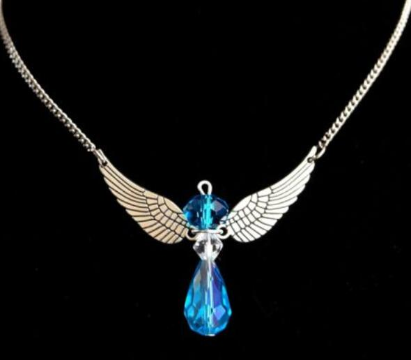 Guardian Angel Wings Necklace Pendant Vintage Silver Charms Crystal bead Statement Choker Necklace For Women Jewelry Gift New