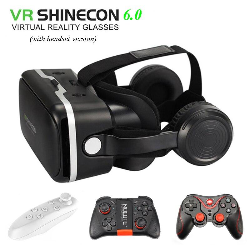Vr shinecon 6.0 VR коробка 2.0 3D VR Очки виртуальной реальности Gafas очки Google картона оригинальный Bobo VR гарнитура для смартфонов