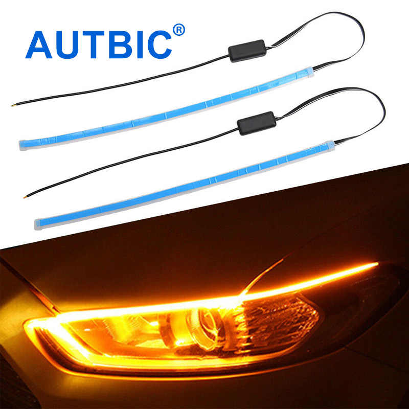 AUTBIC Waterproof Car LED Daytime Running Lights 12V IP68 Flexible LED Strip DRL Dual Color With Turn Signal 30CM 45CM 60CM