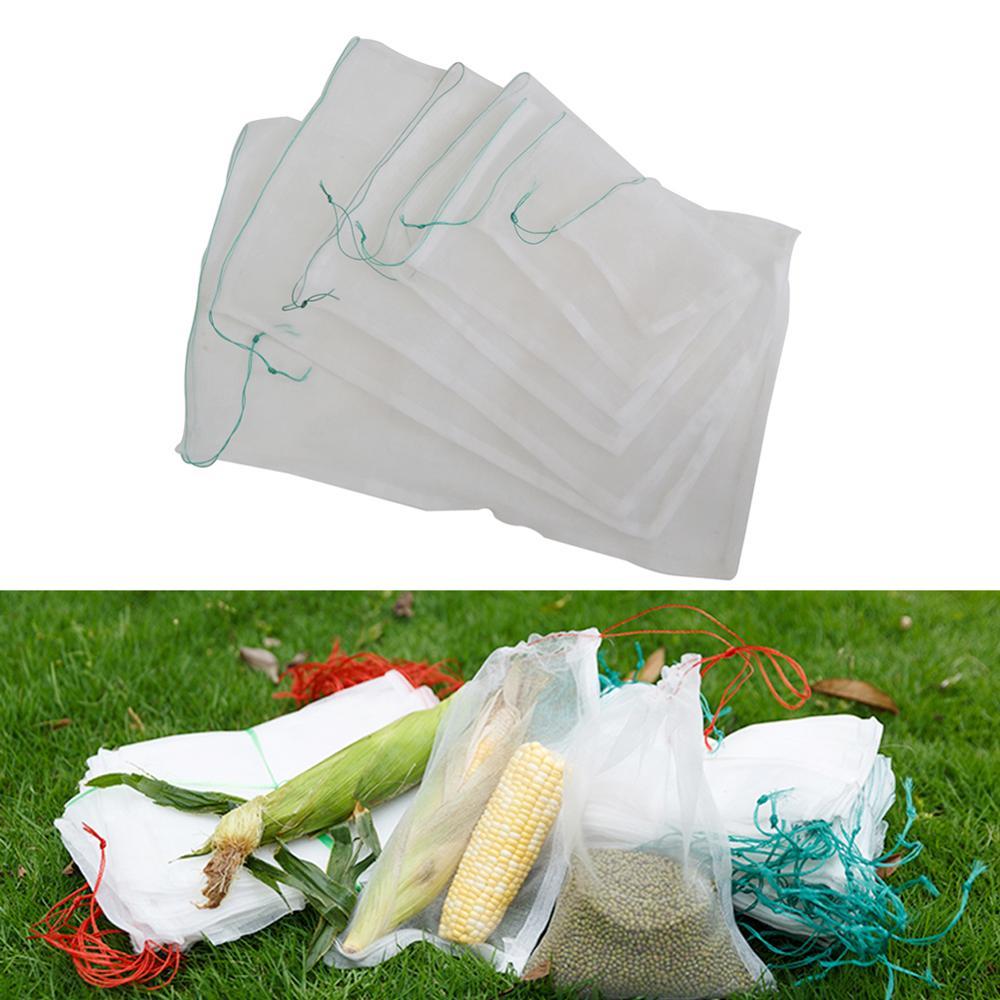 10 Pcs Nylon Fruit Vegetable Plant Insert Protection Grow Mesh Bags Garden Drawstring Anti Bird Pest Insect Protective Net Bag