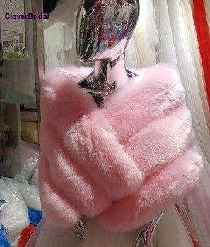 CloverBridal High Quality 140cmx40cm bride wedding bolero casaco feminino women winter accessories fur coat cape shrugs 2018