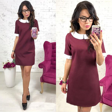 Spring Office work OL Wine red A-Line dress Fashion Summer Short Sleeve Casual Vintage Party Mini dress vestidos