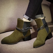 European Style Newest Fashion Martin Boots Black Green Pointy Toe Medium Thick Heels Women Booties Shoes With Belt Buckle