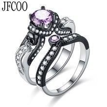 Conjunto de anillos de circón de Color negro Vintage con diseño de calavera con personalidad, anillos de compromiso de estilo Punk, joyas de color plata, envío directo