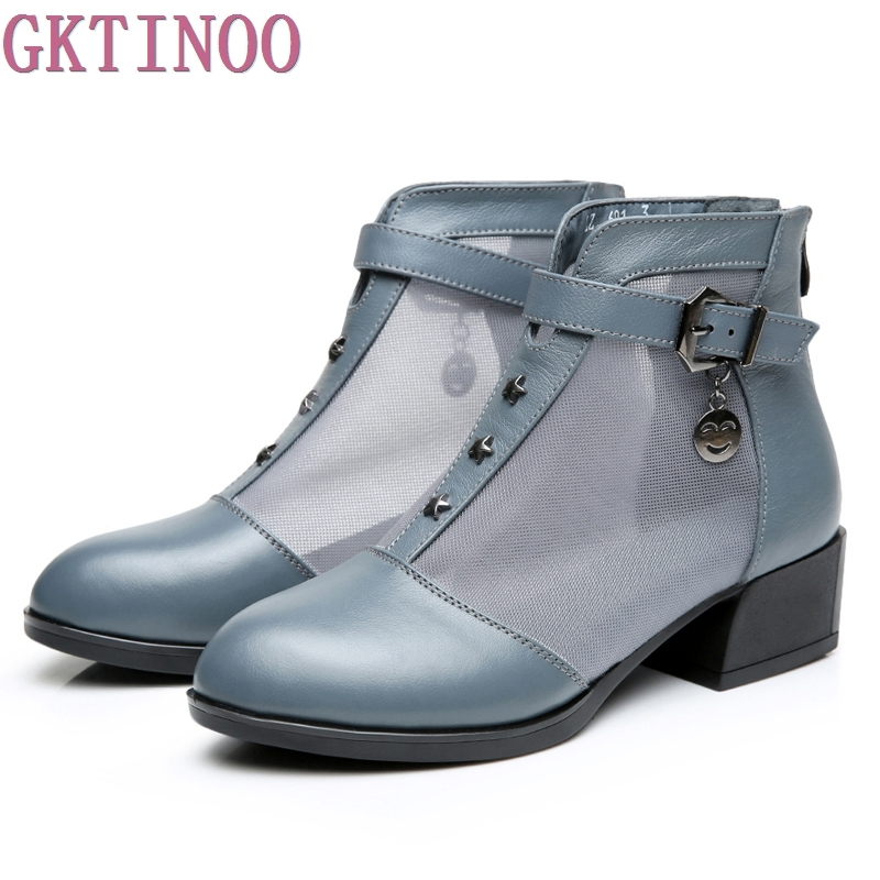 Women Boots Thick Heel Platform Shoes Buckle Autumn Summer Net Boots For Women Genuine Leather Ankle Boots