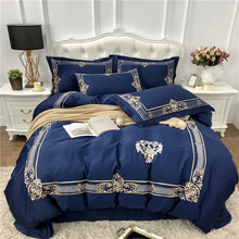 Blue Pink Luxury Gold Royal Embroidery Egyptian cotton Bedding Set Duvet Cover Bed Sheet/Linen Pillowcases Queen King Size 4pcs