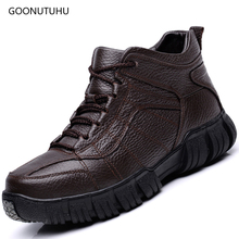 2019 winter Men's boots casual shoes genuine leather cow lace-up military boot shoe man black & brown ankle snow boots for men цены онлайн