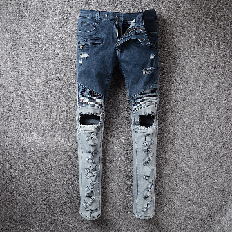 2017 new Men's Classic Jeans Straight Full Length Casual Ripped Jeans For Men Fashion Casual Hip Hop Zip Pocket Biker Men's Skin dsel brand men jeans denim white stripe jeans mens pants buttons blue color fashion street biker jeans men straight ripped jeans