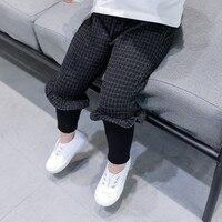 DFXD בנות תינוק בגדי ילדי החורף חדש עיצוב האופנה המכנסיים משובצים ילדים חותלות באורך קרסול מכנסיים תינוק קוריאני 2-8Years