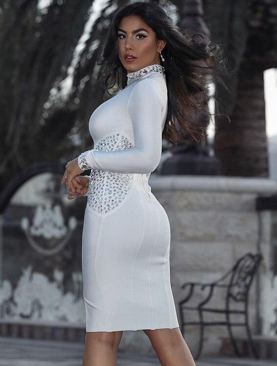 À Luxe Femmes Moulante Partie Perles Sexy Longues Manches Tricoté De Bandage Blanc Élastique Robe 2018 5U5qwt