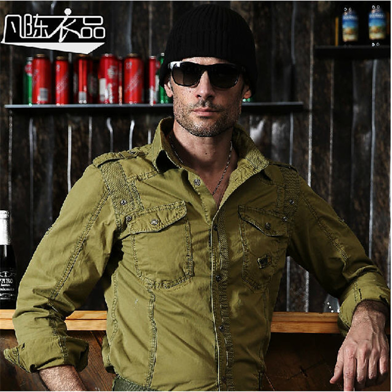 Men'S Long Sleeve Fashion Cargo Shirts Casual Loose Plus Size Uniform Cotton Embroidery Shirts Military Army Green Shirt A009