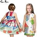 Дети одежда летние платья для девочек мода платье девушки мультфильм хлопок день рождения сарафан новый 2016 детские детская одежда