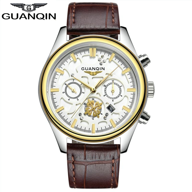 ФОТО Relogio Masculino GUANQIN Casual Watch Men Fashion Mens Watches Top Brand Luxury Quartz Watch  Leather Waterproof montre homme