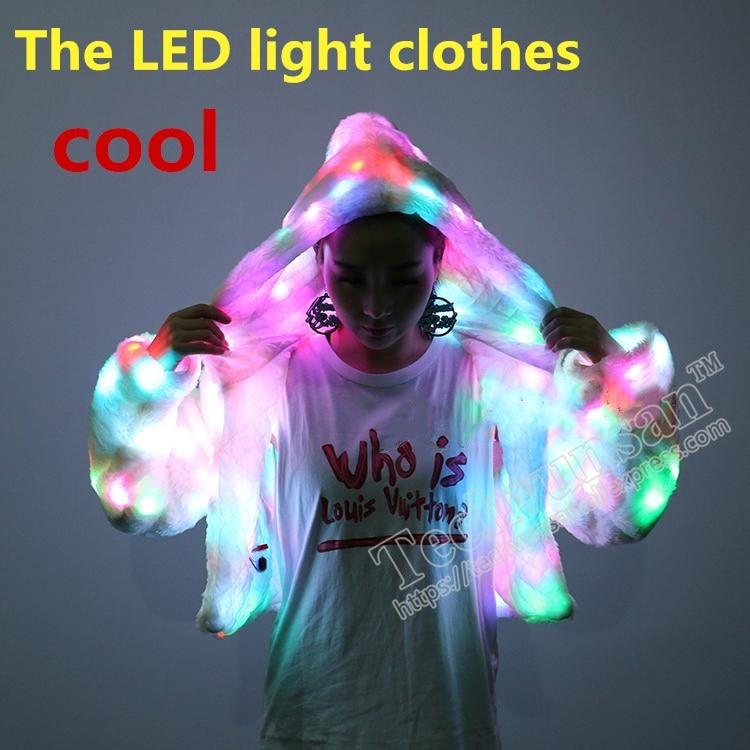 LED luminous clothing Loose coat Bar Disco dancing Noctilucan children Caps Thin money men and women Lovers
