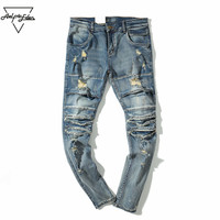 Aelfric Eden New 2017 Autumn Fashion Denim Pants Men Hip Hop Jeans Ripped Hole Brand Jeans