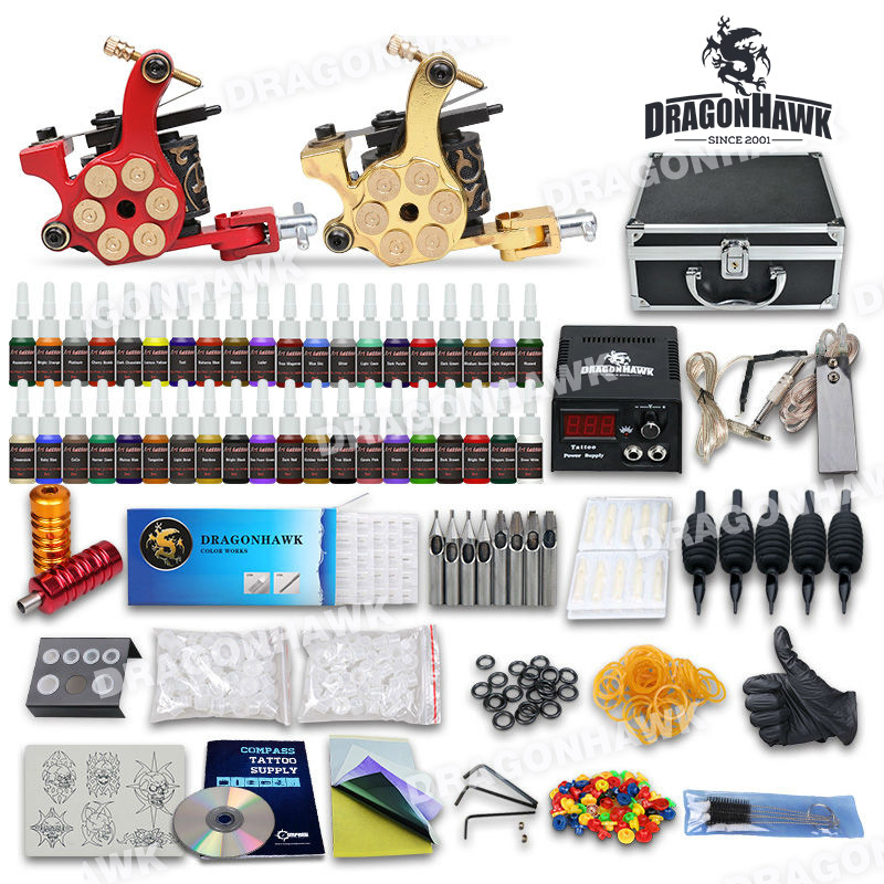 Complete Tattoo Kit 2 Machine Gun Set Equipment Power Supply 40 Color Ink with case 10-24GD