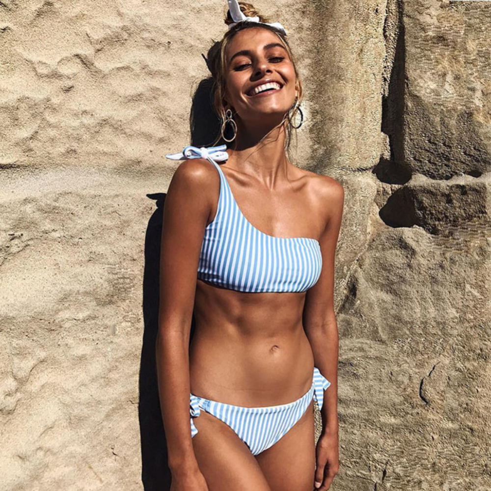 One Shoulder Bikini Bandage Striped Swimwear Women Lace Up Tied String Sexy Bikinis Set Women Swimsuit Bathing Suit 2018 New summer style sexy bathing suit women 2016 new swimwear swimsuit sexy bikini swimwear shoulder strap bikinis set