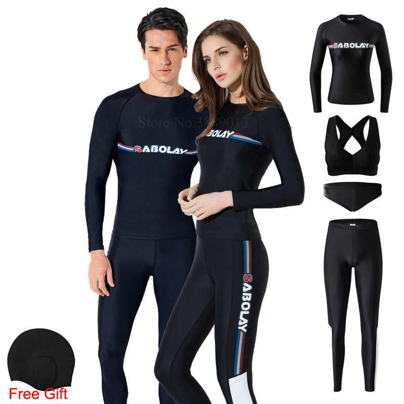 Likra dalış giysisi şnorkel tüplü dalgıç kıyafeti uzun kollu mayo kadınlar döküntü bekçi erkekler sörf kıyafetleri UPF50 + UV güneş koruyucu
