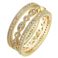3Pcs Finger Ring Sets Wholesale Elegant Noble Engagement Ring For Women Gold Silver-Color Full Round Zircon Ring Wedding Jewelry недорого
