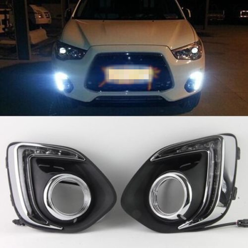 White LED Daytime Running Light Driving Fog Lamp DRL For MITSUBISHI ASX 2013 2014 led drl day lights for mitsubishi asx 2013 2014 2015 daytime running light driving fog run lamp with yellow turn signal