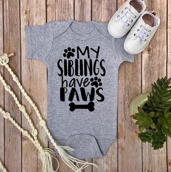 DERMSPE, ropa de bebé recién nacido, ropa de manga corta para niña y niño, My Sibliwgs, traje de algodón con diseño de patas, blanco y gris
