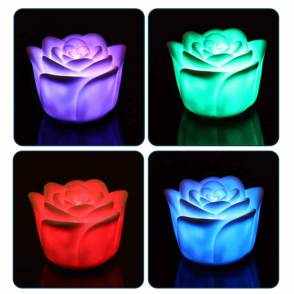 7 Colors Flameless Changing Rose Flower Candle Sound Sensor LED Night Light _WK