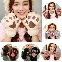 Cute Bear Cat Claw Paw Gloves Winter Warm Women Plush Mittens Girls Short Half Finger Gloves Lovely Cartoon Velvet Animal Glove