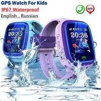 Русский водонепроницаемый Tracker Смотреть Дети плавать сенсорный экран SOS вызова расположение английский Смарт часы Носимых устройств gps час