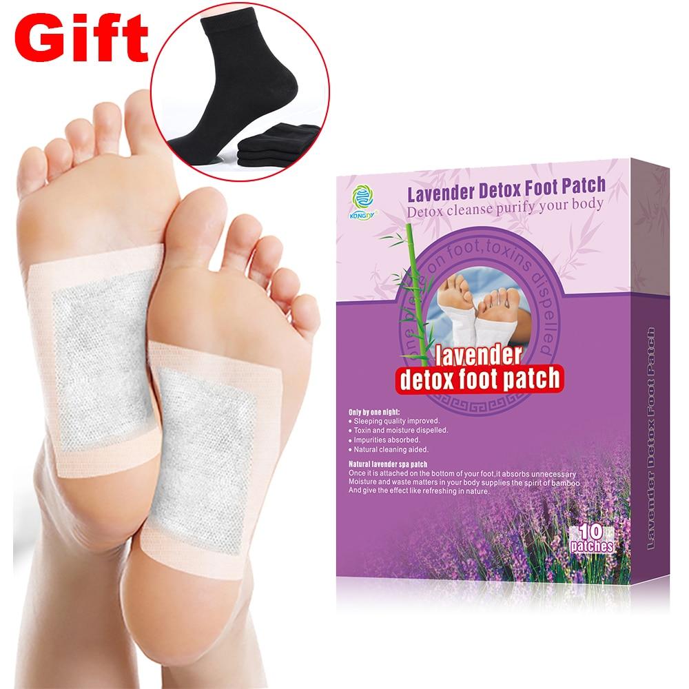 KONGDY Adhesive Detox Foot Pad 10 st / lådor Lavendel Bambu Vinäger Plaster Eliminera trötthet och eliminera toxiner Bantning Care Patch