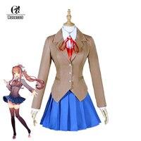 ROLECOS New Game Doki Doki Literature Club Cosplay Costumes Sayori Yuri Natsuki Monika School Uniform Full