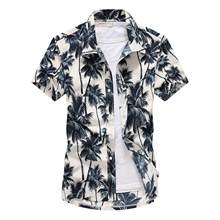 Camisa havaiana de manga curta masculina, camisa com secagem rápida, tamanho maior asiático, verão 2019, casual e floral, de praia, M-5XL homens