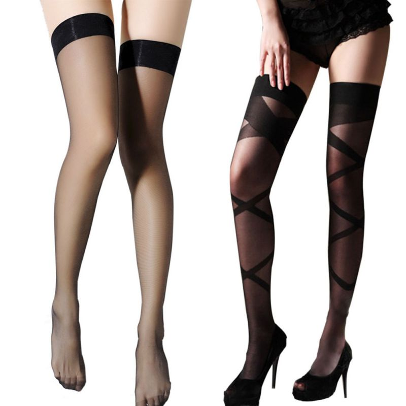 Women Sexy Hollow Stockings Black Knee High Thigh Long Stay Up Tights Stockings