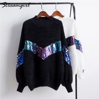 Mohair Sweater With Sequins Women White Turtleneck Sweater Pullover Sweaters Women Sweters 2018 Patch Thick Winter Warm Sweaters