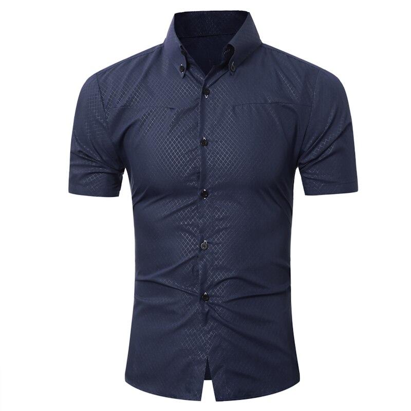 Marca 2018 moda masculina camisa hawaiana manga corta Tops pequeña rejilla color sólido Camisas de traje Delgado hombres camisa 5xl