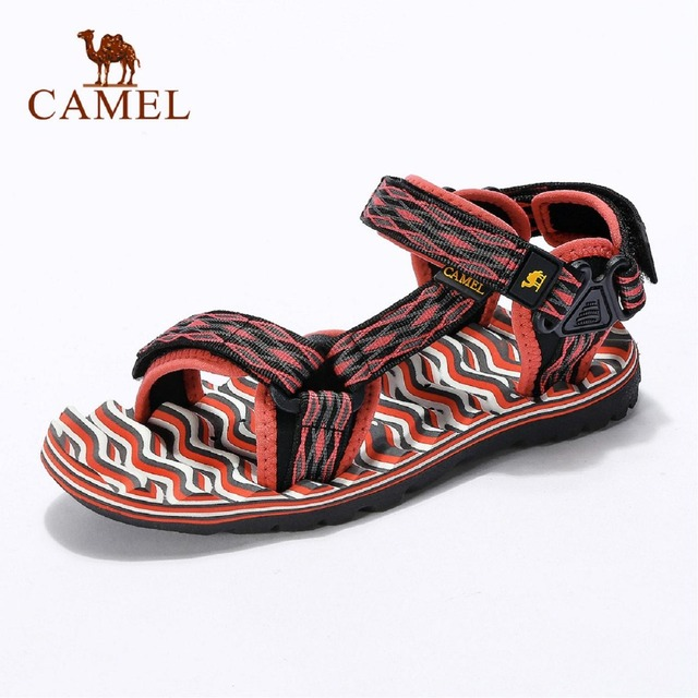 2017 new camel outdoor couple models beach shoes women ribbon Hook & Loop  skid comfortable sandals