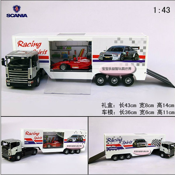Hot sale 1pc 1:43 36cm delicate SCANIA Giant F1 delivery trucks simulation model alloy car home decoration gift toy