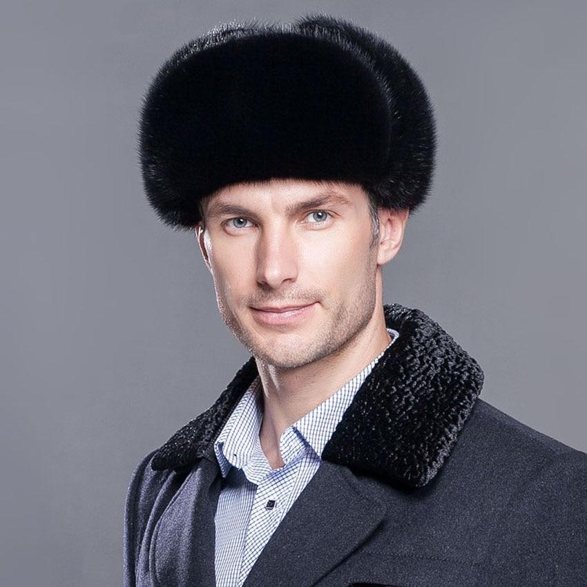 Цельная норковая шапка мужская зимняя ухо Лэй Фэн крышка пожилых среднего  возраста мужской шапка натуральная меховая шапка a46e2835643