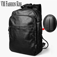 VM FASHION KISS Men's Backpack Business Travel Bag Genuine Leather Antitheft Backpacker 14 Inches Laptop Bags Famous Rucksack