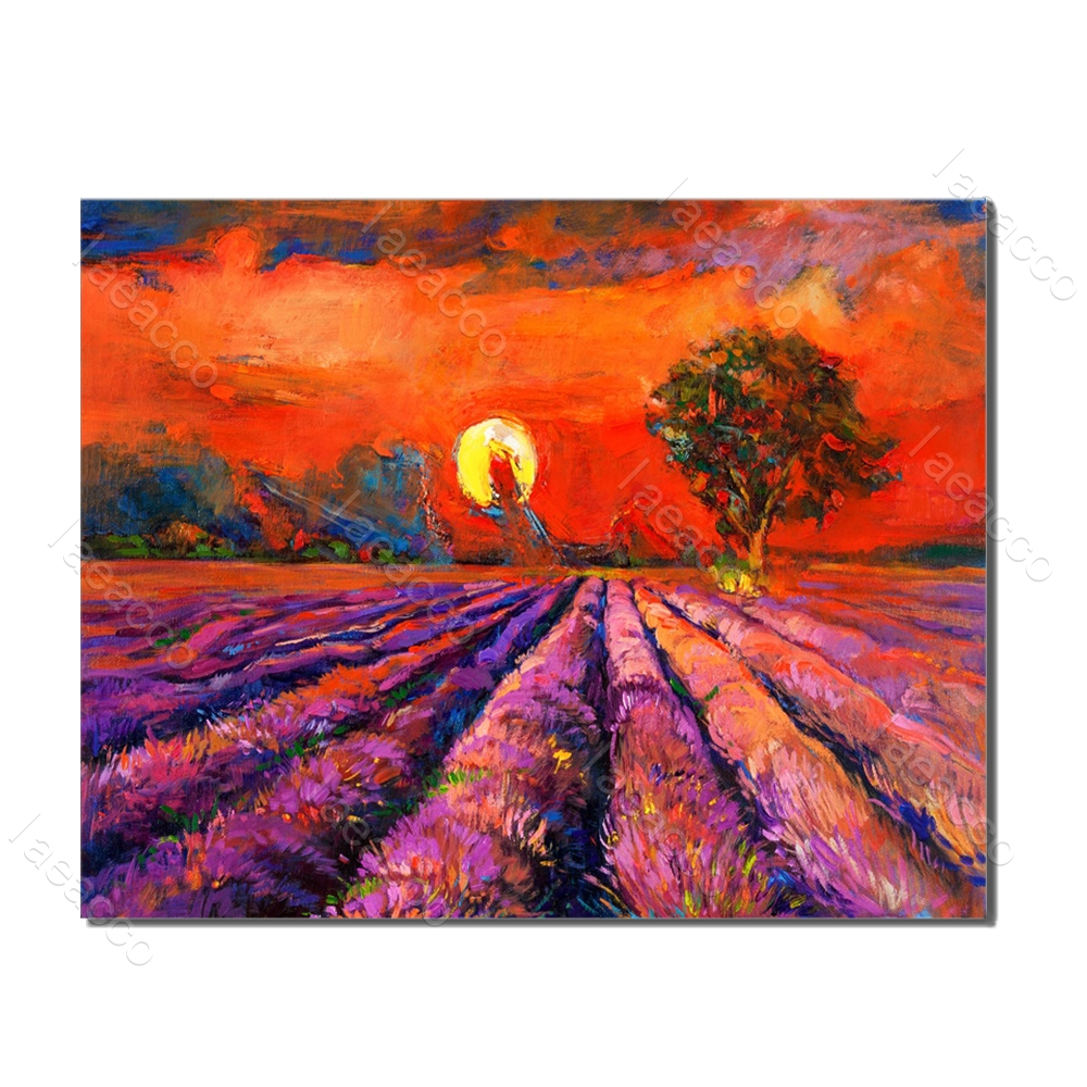 Laeacco Garden Posters And Prints Sunrise Flower Rural Wall Artwork Canvas Painting For Home Living Room Decoration