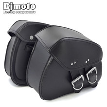 Bjmoto Universal Motorcycle Black luggage Saddle Bag for Harley Honda Suzuki Rider Motorbike Luggage Bags