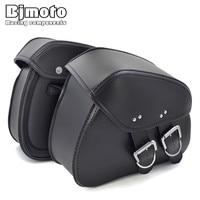 Bjmoto Universal Motorcycle Black luggage Saddle Bag for Harley Honda Suzuki Saddle Bag Rider Motorbike Luggage Bags