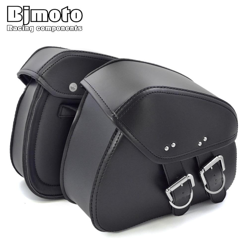 Bjmoto Universel Moto Noir bagages Selle Sac pour Harley Honda Suzuki Selle Sac Coureur Moto Bagages Sacs