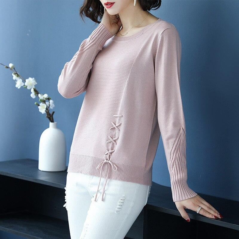 De Tops Automne Tricoté Manches Blue Pull New Hiver Solide Femmes pink Chandail Longues Mode Lady Couleur UIIwaq4H