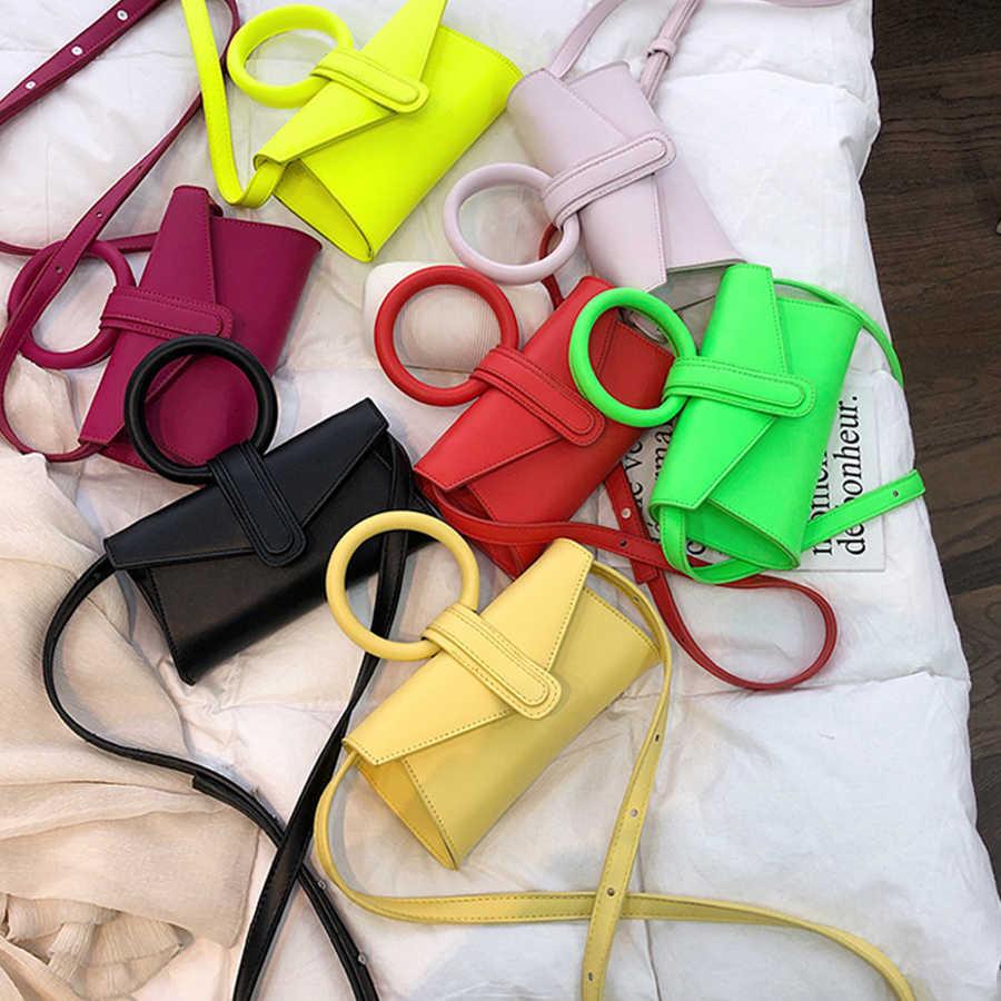 เรืองแสงสีกระเป๋าสำหรับสุภาพสตรี Retro กระเป๋าถือหนัง PU คุณภาพสูงหญิง Wome สไตล์เกาหลี Crossbody กระเป๋า
