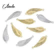 Aiovlo-pendentifs ailes en acier inoxydable, 5 pièces/lot, breloques, connexion ailes d'ange, accessoires pour la fabrication de bijoux, Diy, bricolage