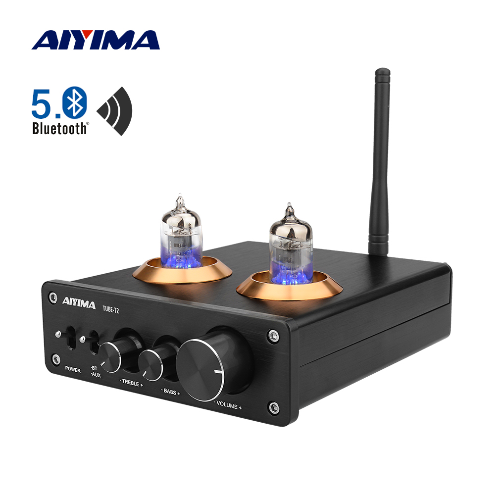 AIYIMA 6J1 Vacuum Tube Amplifier Preamplifier HiFi Bluetooth 5 0 Preamp AMP With Treble Bass Tone