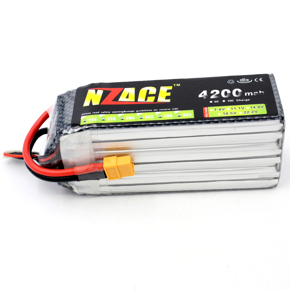 NZACE 6S lipo battery 22.2v 4200mAh 30C rc helicopter rc car rc boat quadcopter remote control toys Li-Polymer battey xxl a grade 4s lipo battery 14 8v 5200mah 30c helicopter rc car quadcopter remote control toys li polymer battey rc parts