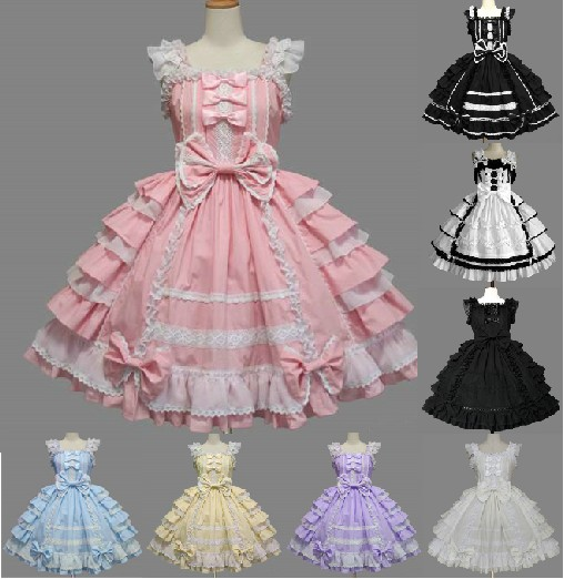 Small Fresh Lolita Palace princess Chiffon lace Bow dress Candy-colored pink blue Light blue light purple color dress