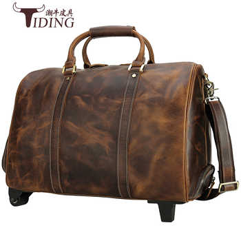 Travel Duffle Bags Genuine Leather Extra Large 2019 New Large Travelling Bag Real Leather Trolley Case Suitcase with Wheels Man